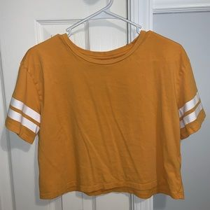 yellow with stripped sleeves crop top